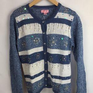 Holiday Cardigan Size 4/6 Blue White Snowflakes